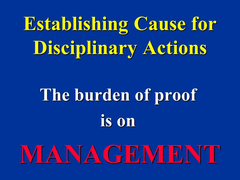 Establishing Cause for Disciplinary Actions