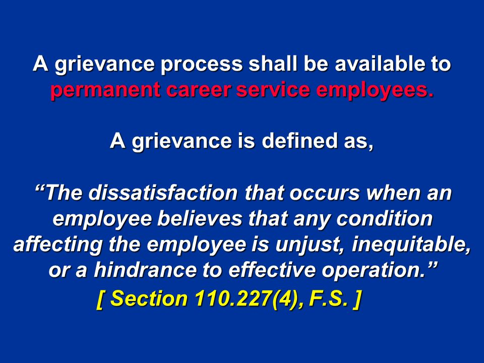 A grievance process shall be available to permanent career service employees.