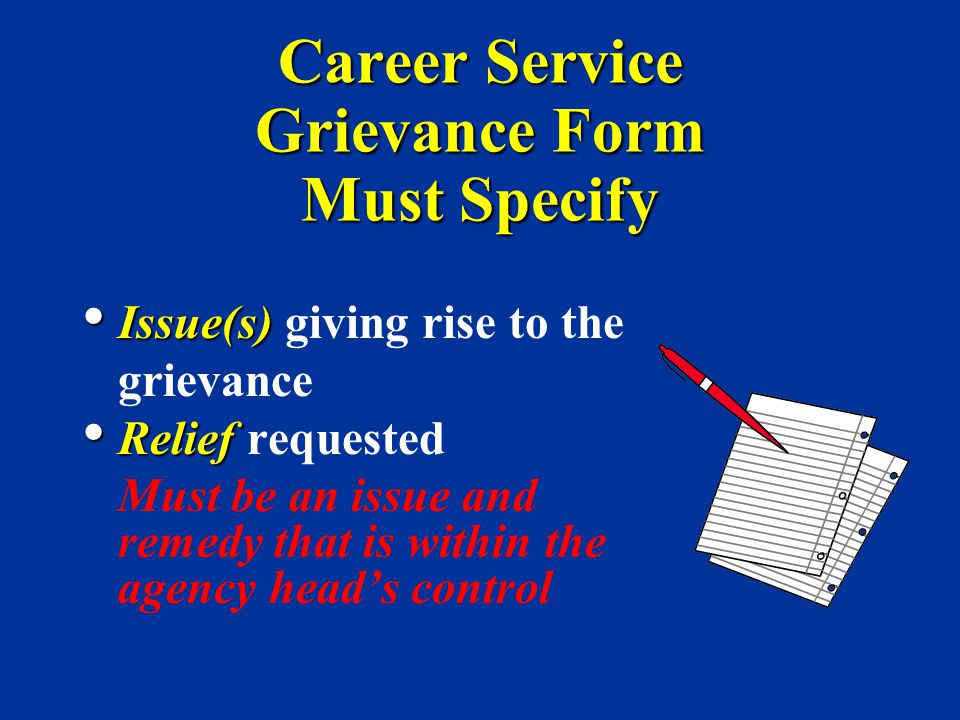 Career Service Grievance Form Must Specify