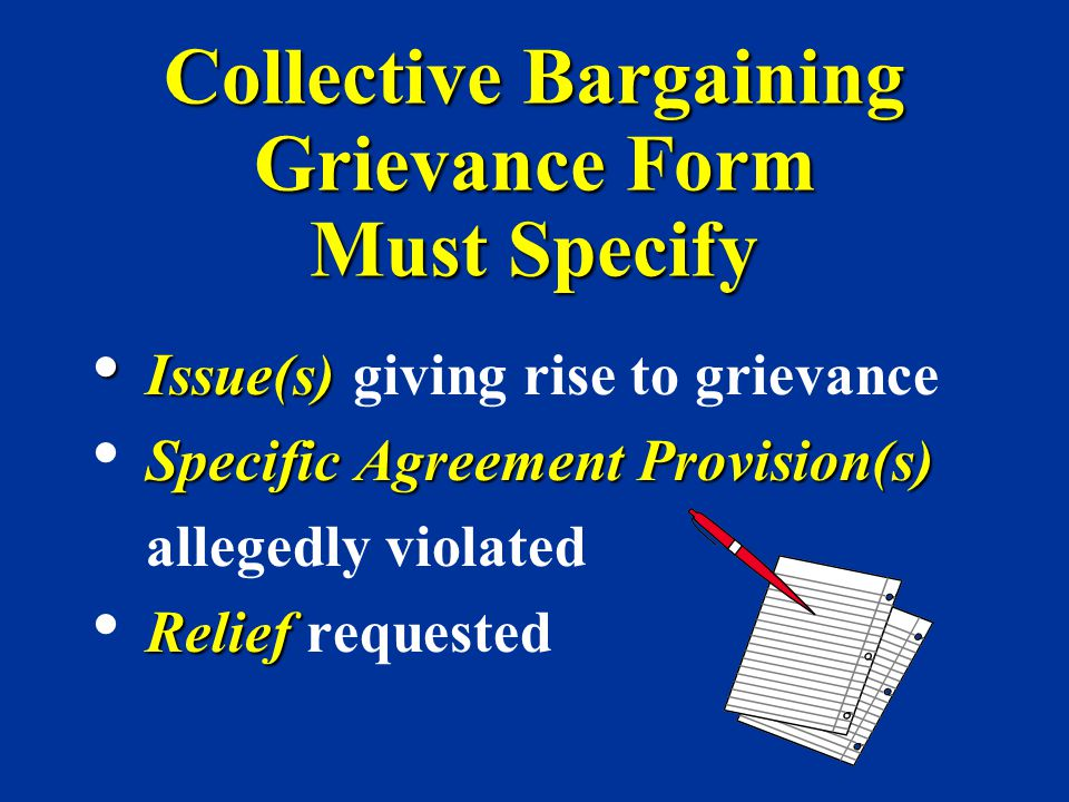 Collective Bargaining Grievance Form Must Specify