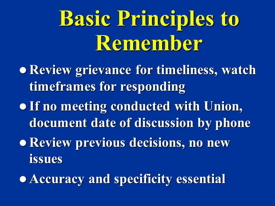 Basic Principles to Remember