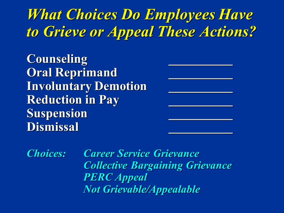 What Choices Do Employees Have to Grieve or Appeal These Actions