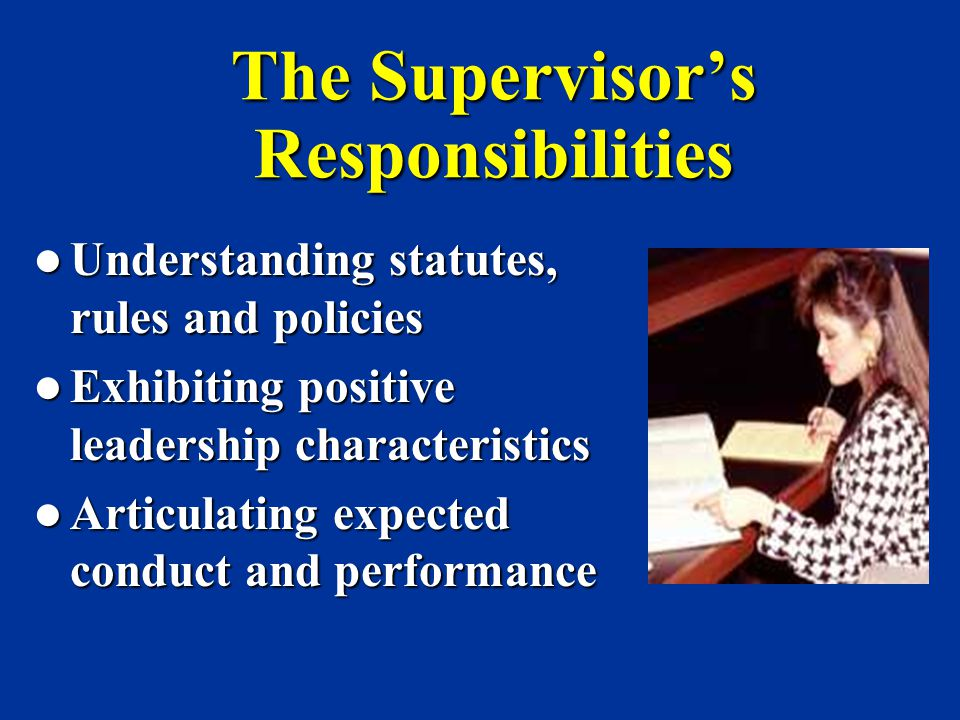 The Supervisor's Responsibilities
