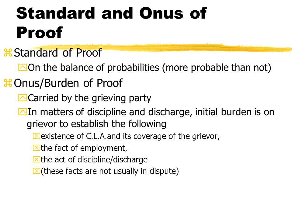 Standard and Onus of Proof