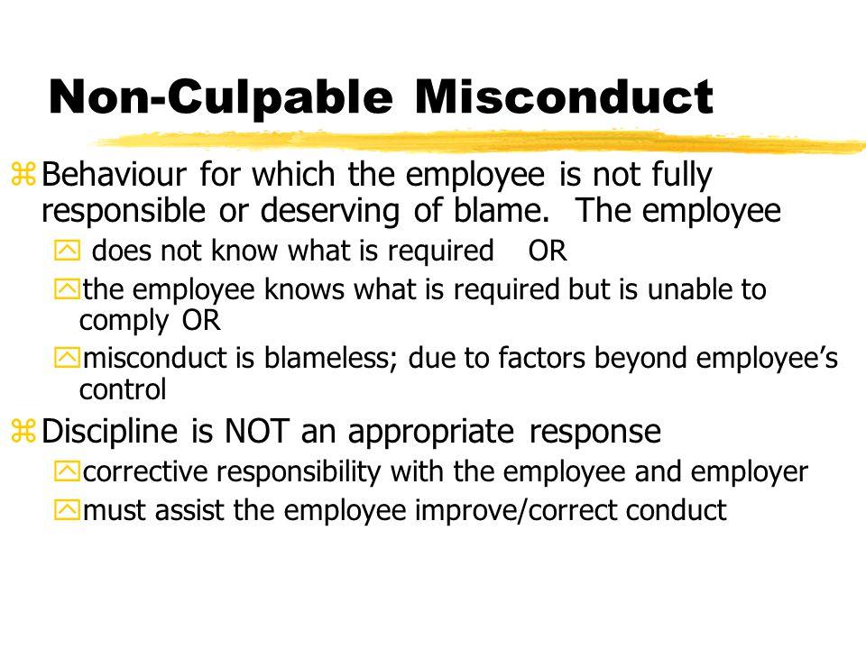 Non-Culpable Misconduct