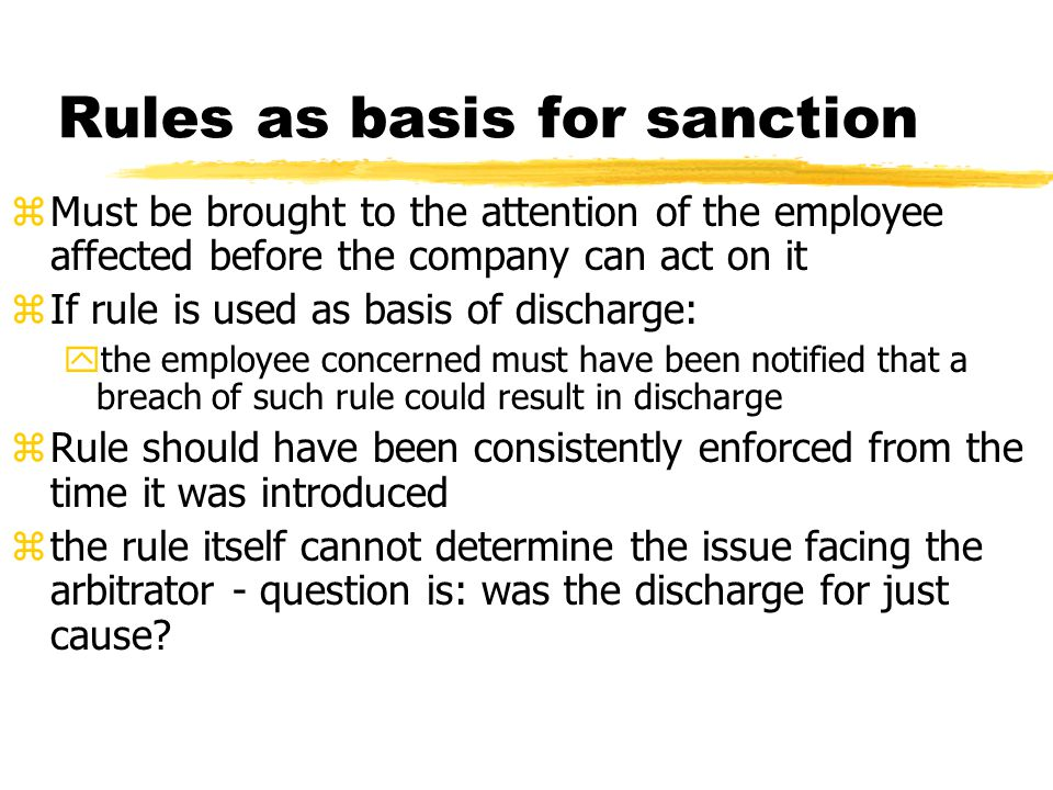 Rules as basis for sanction