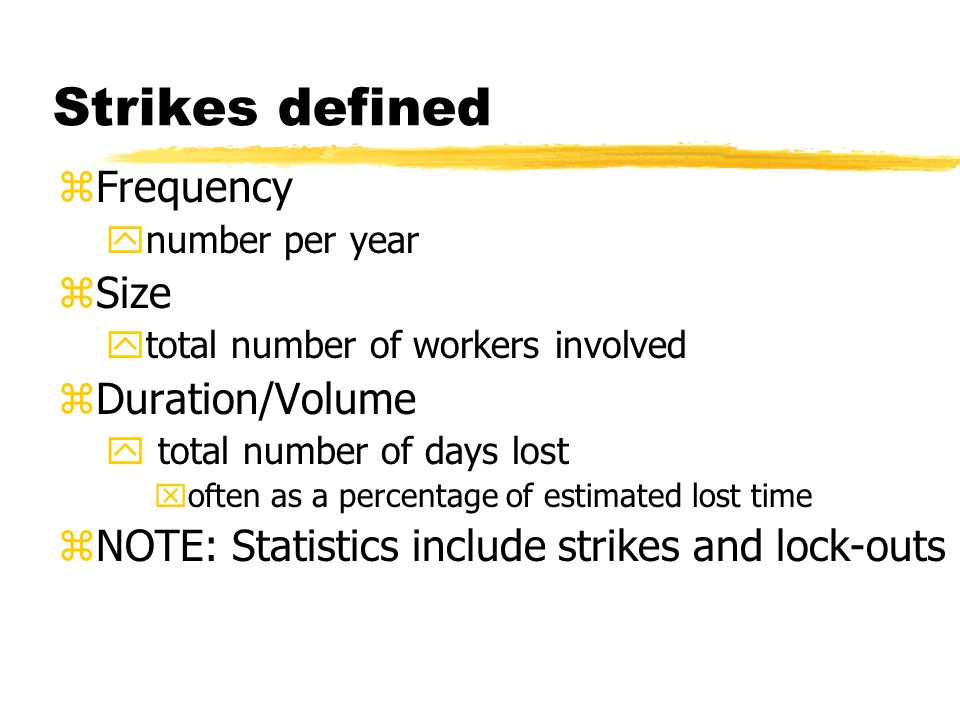 Strikes defined Frequency Size Duration/Volume