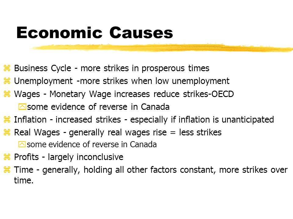 Economic Causes Business Cycle - more strikes in prosperous times