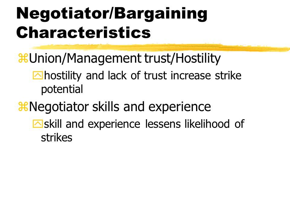 Negotiator/Bargaining Characteristics