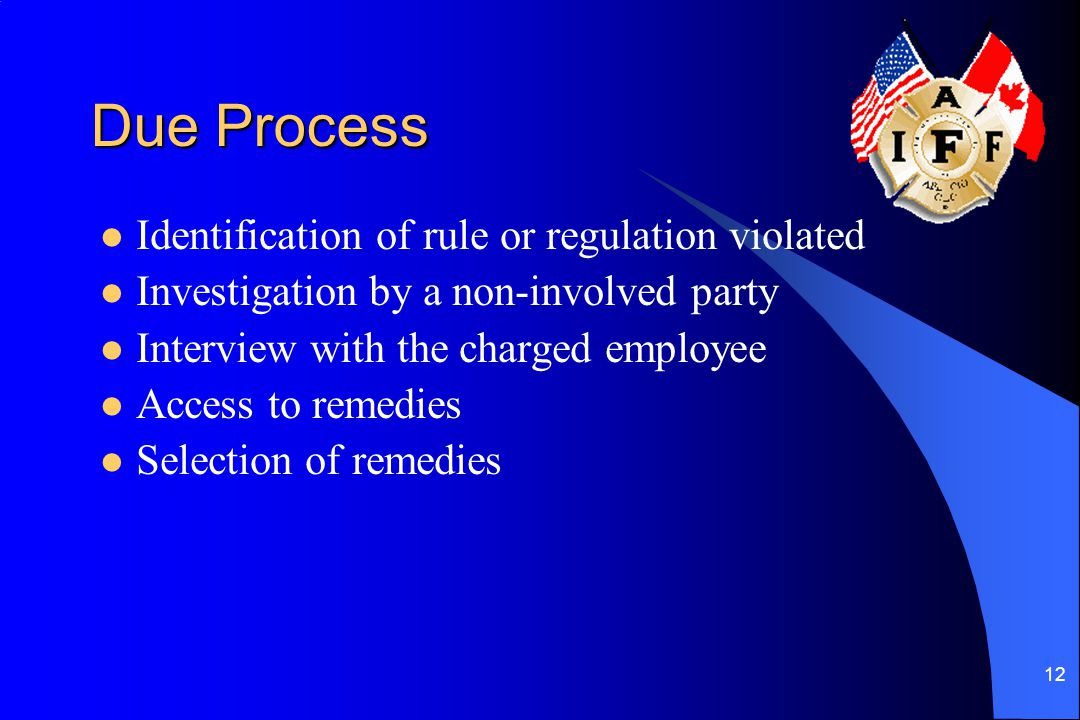 Due Process Identification of rule or regulation violated