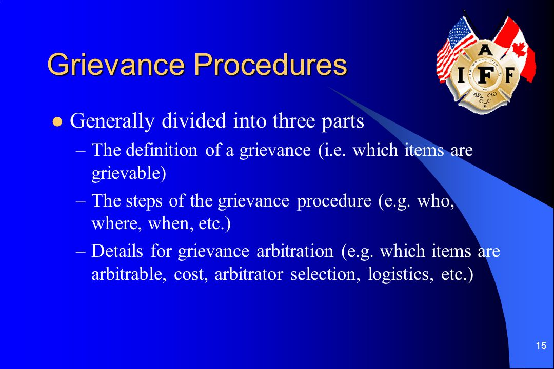 Grievance Procedures Generally divided into three parts