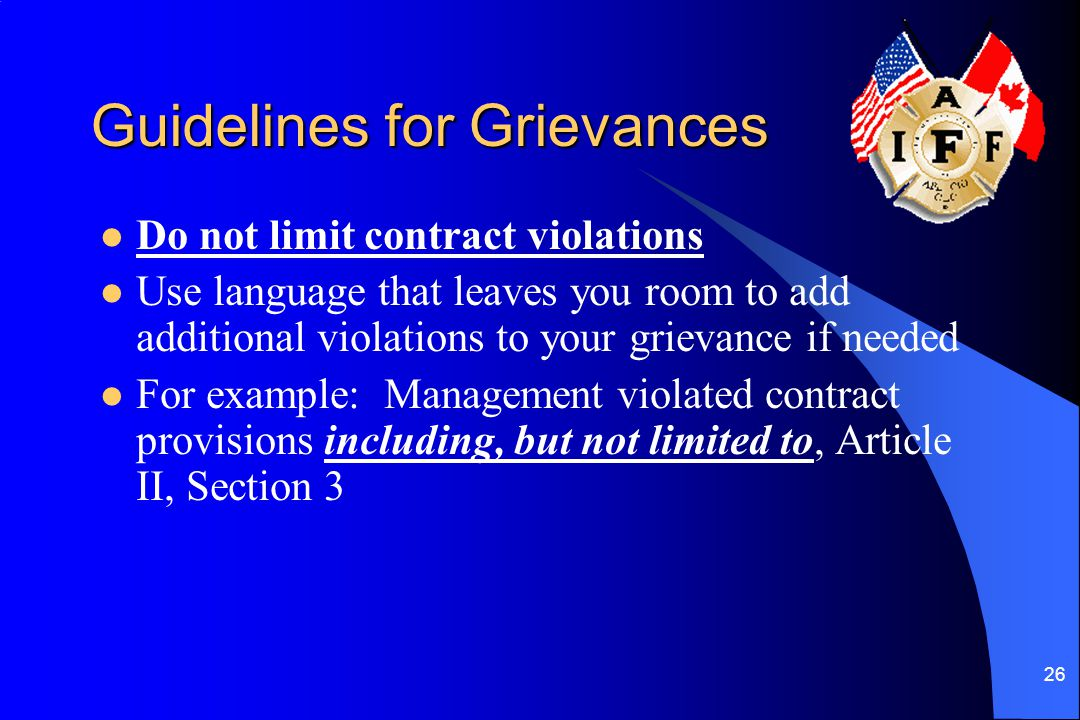 Guidelines for Grievances