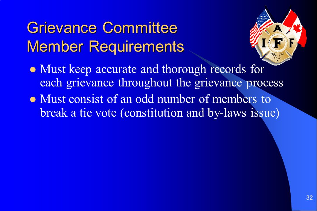 Grievance Committee Member Requirements