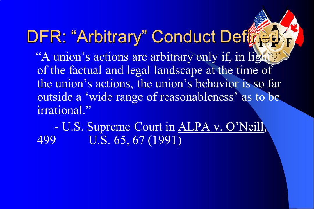 DFR: Arbitrary Conduct Defined