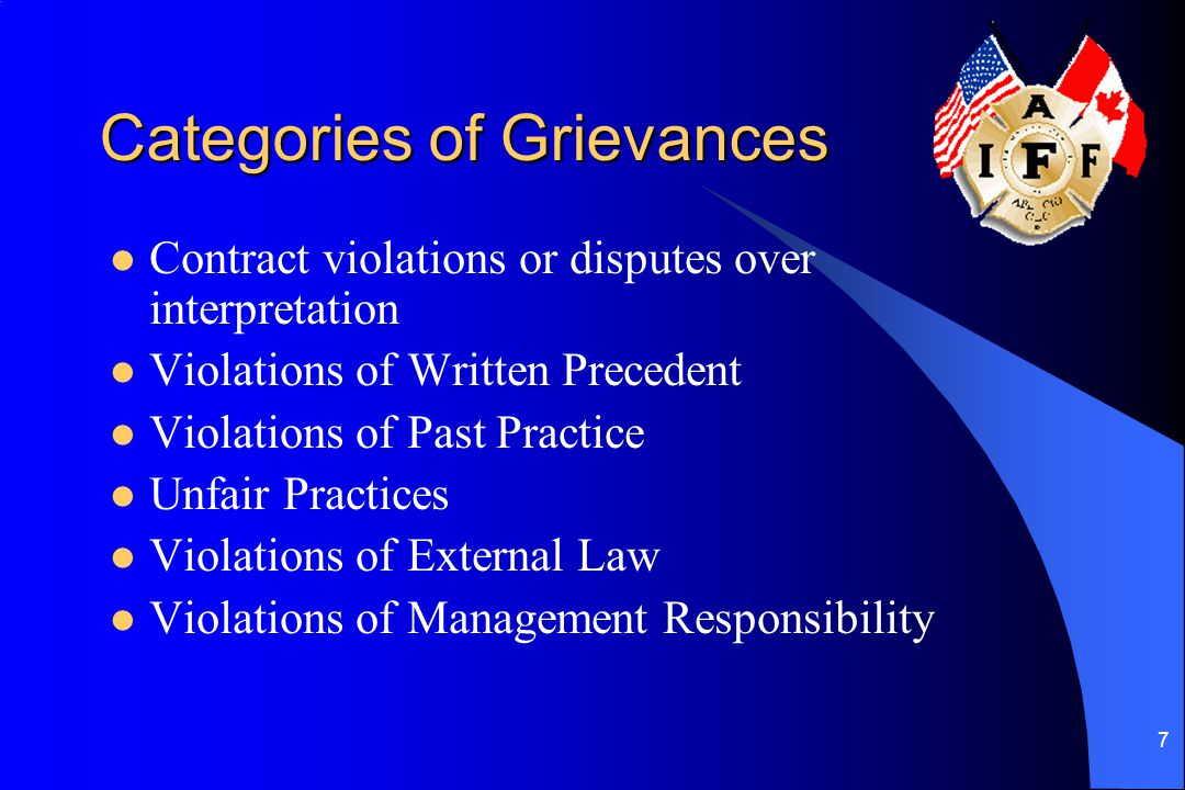 Categories of Grievances