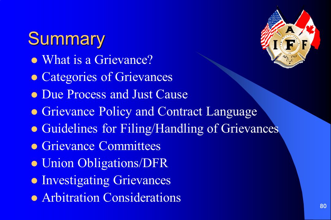Summary What is a Grievance Categories of Grievances