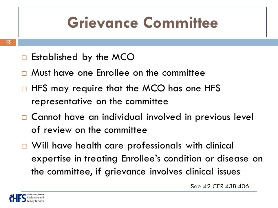 Grievance Committee Established by the MCO