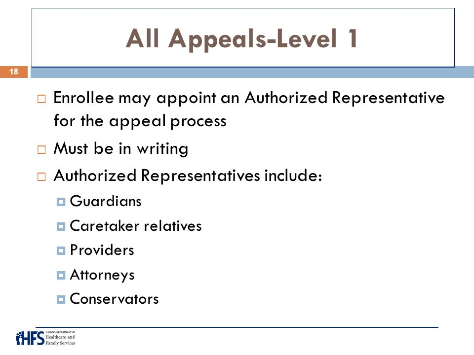 All Appeals-Level 1 Enrollee may appoint an Authorized Representative for the appeal process. Must be in writing.
