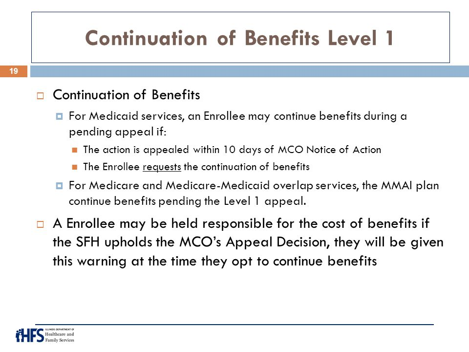 Continuation of Benefits Level 1