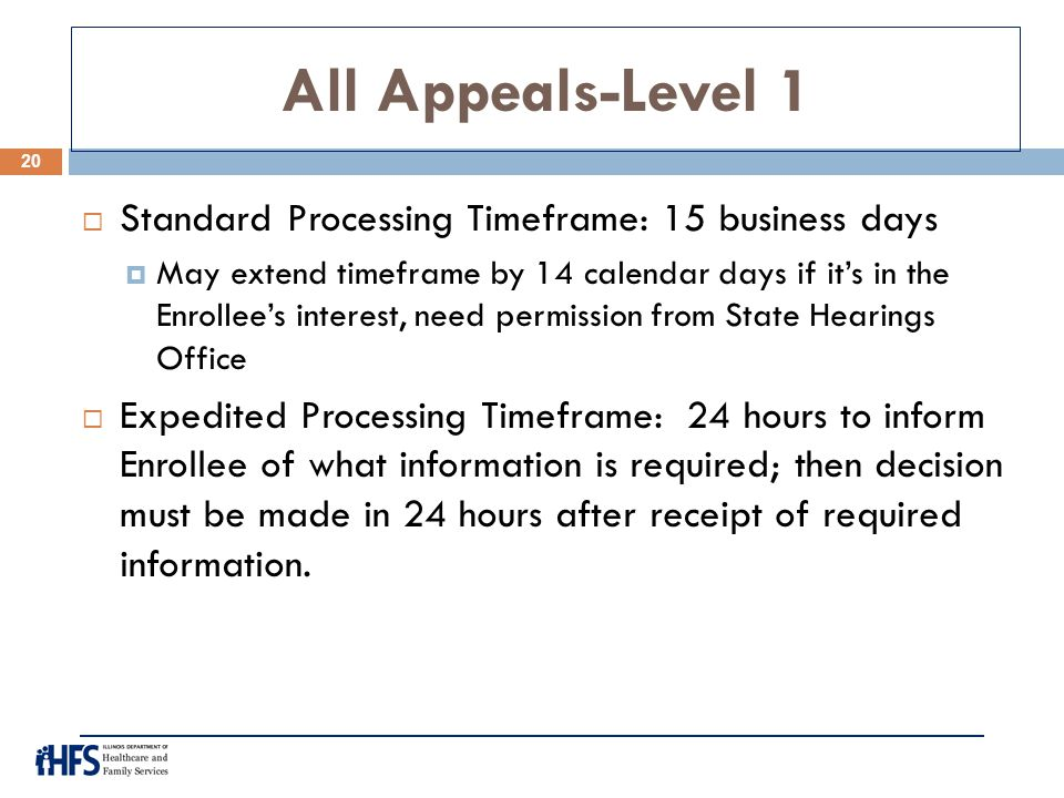 All Appeals-Level 1 Standard Processing Timeframe: 15 business days
