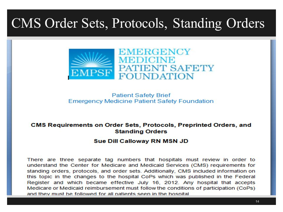 CMS Order Sets, Protocols, Standing Orders