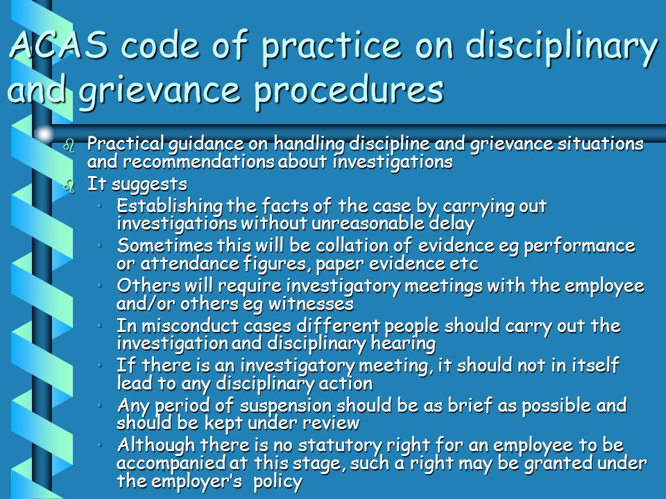 ACAS code of practice on disciplinary and grievance procedures