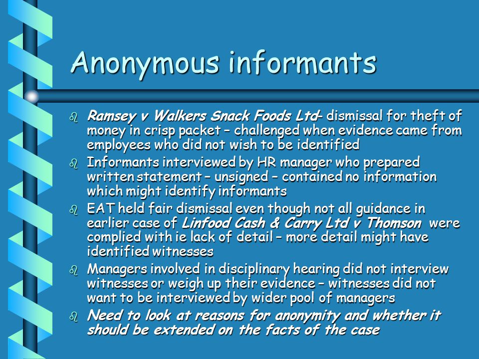 Anonymous informants