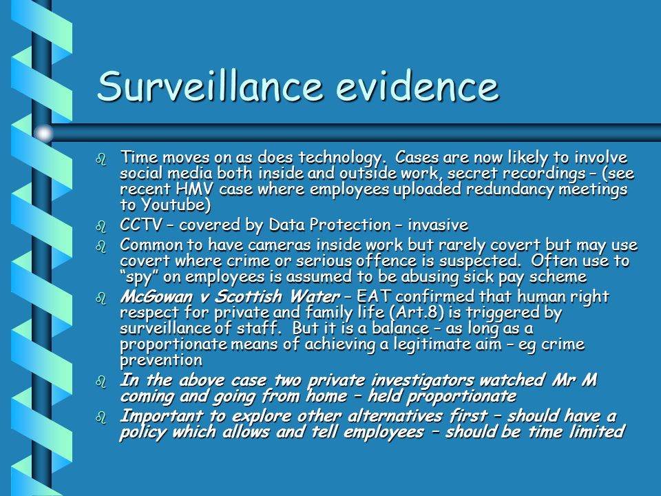 Surveillance evidence
