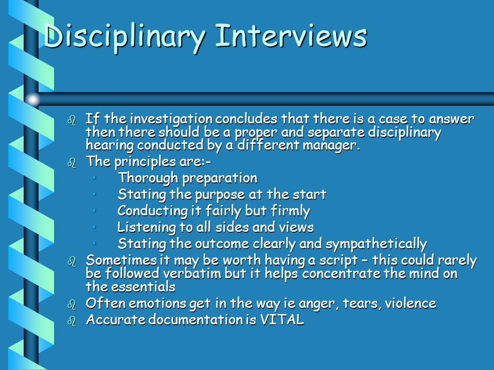 Disciplinary Interviews