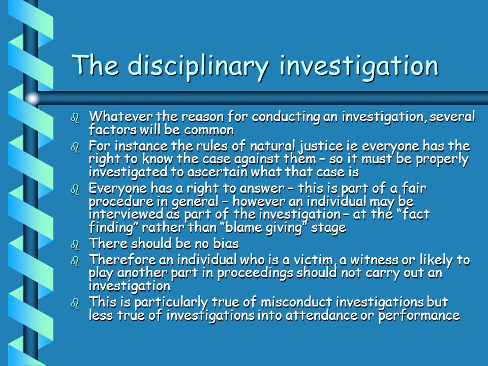 The disciplinary investigation