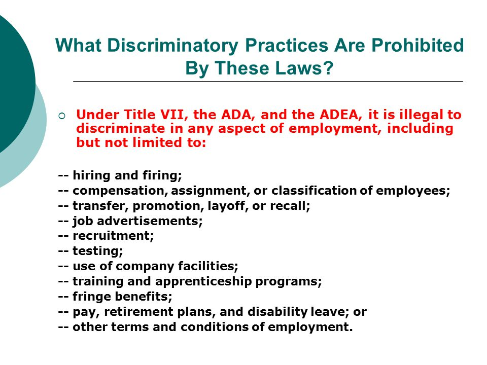 What Discriminatory Practices Are Prohibited By These Laws