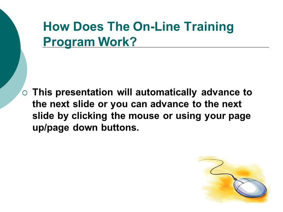 How Does The On-Line Training Program Work