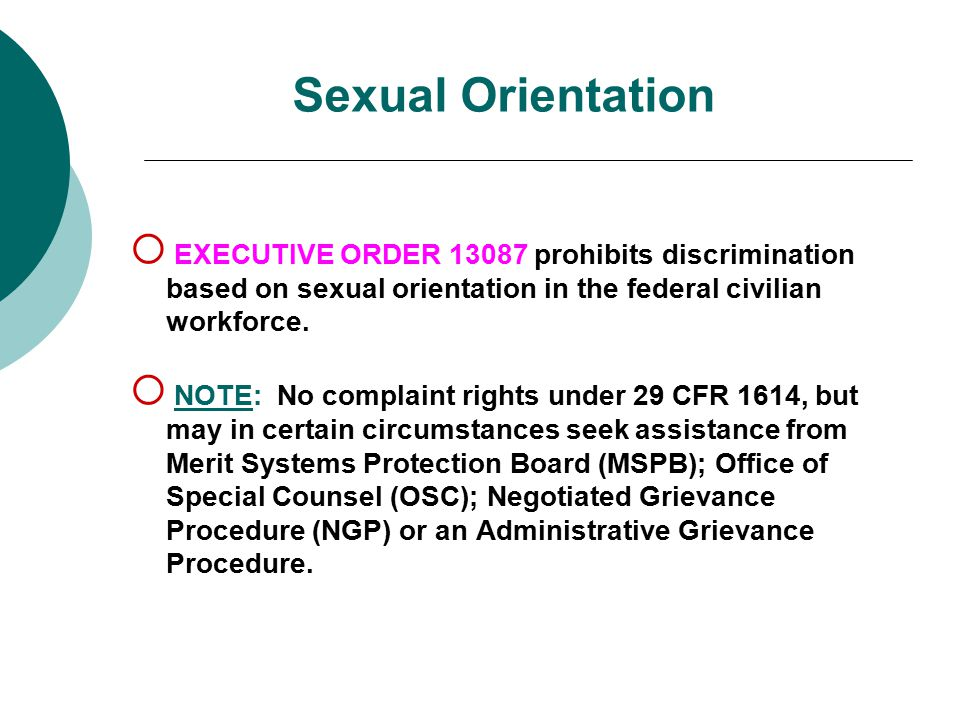 Sexual Orientation EXECUTIVE ORDER 13087 prohibits discrimination based on sexual orientation in the federal civilian workforce.