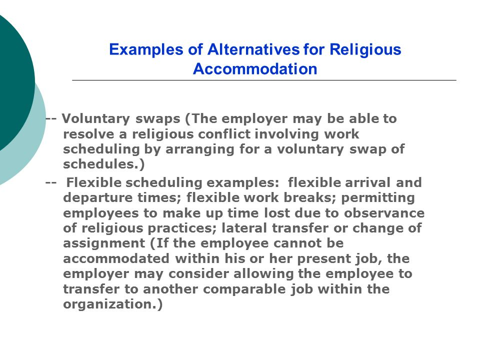 Examples of Alternatives for Religious Accommodation