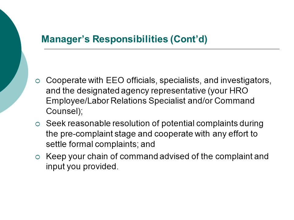 Manager's Responsibilities (Cont'd)