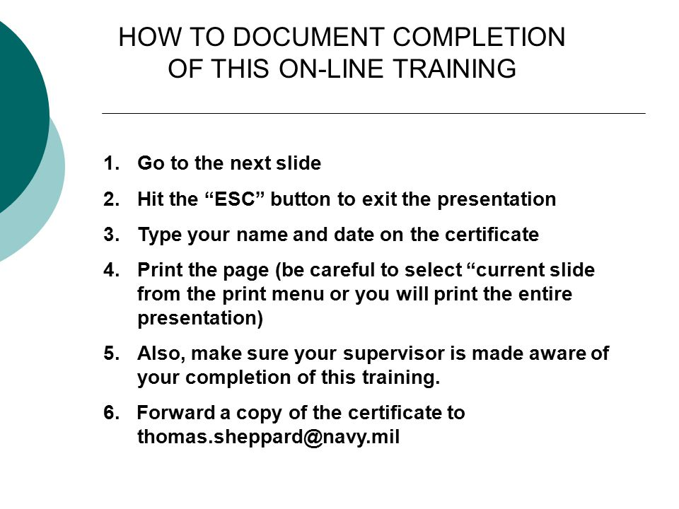 HOW TO DOCUMENT COMPLETION OF THIS ON-LINE TRAINING