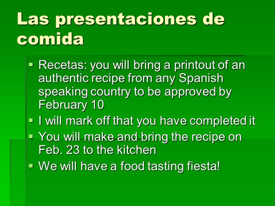 Las presentaciones de comida