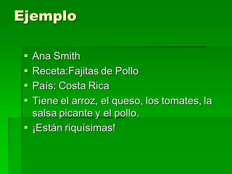 Ejemplo Ana Smith Receta:Fajitas de Pollo País: Costa Rica