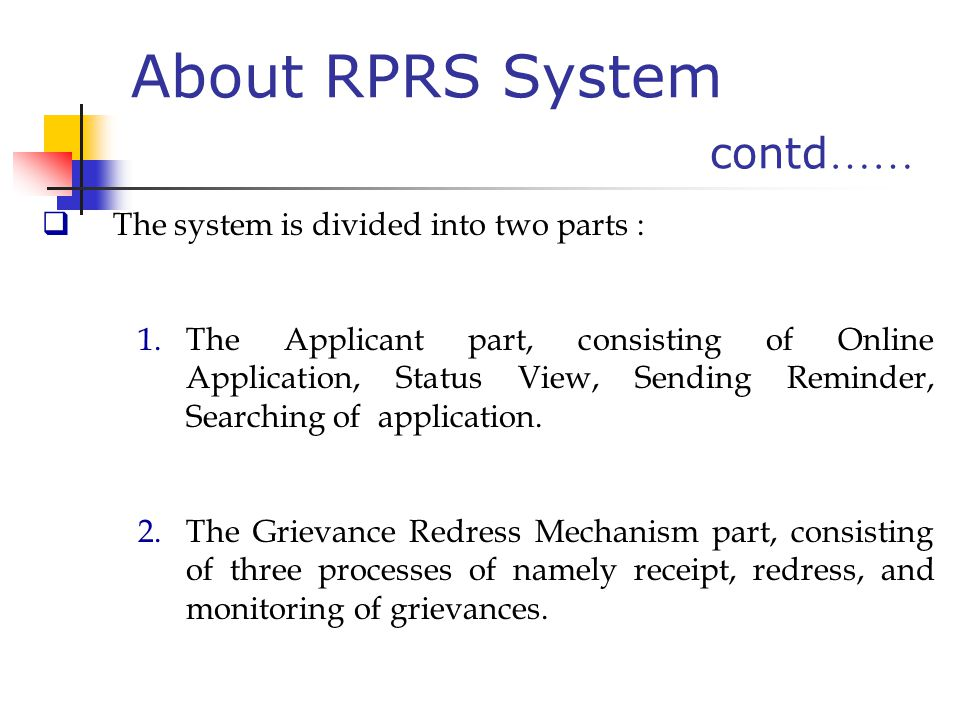 About RPRS System contd……
