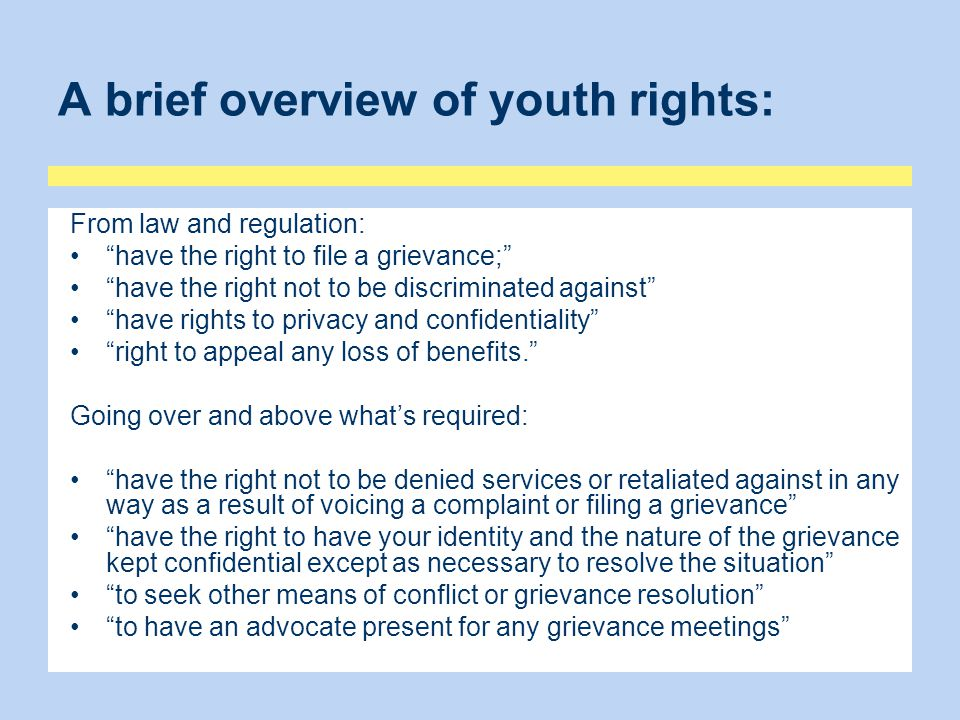 A brief overview of youth rights:
