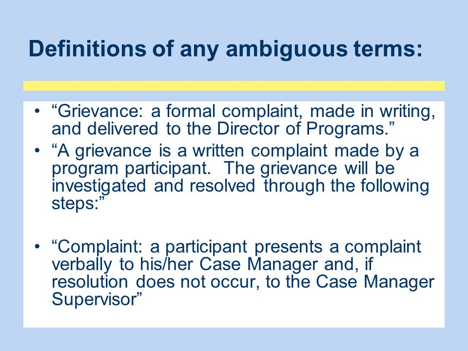 Definitions of any ambiguous terms: