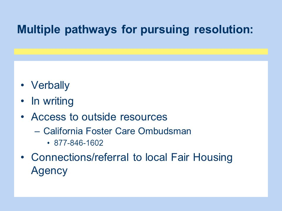 Multiple pathways for pursuing resolution: