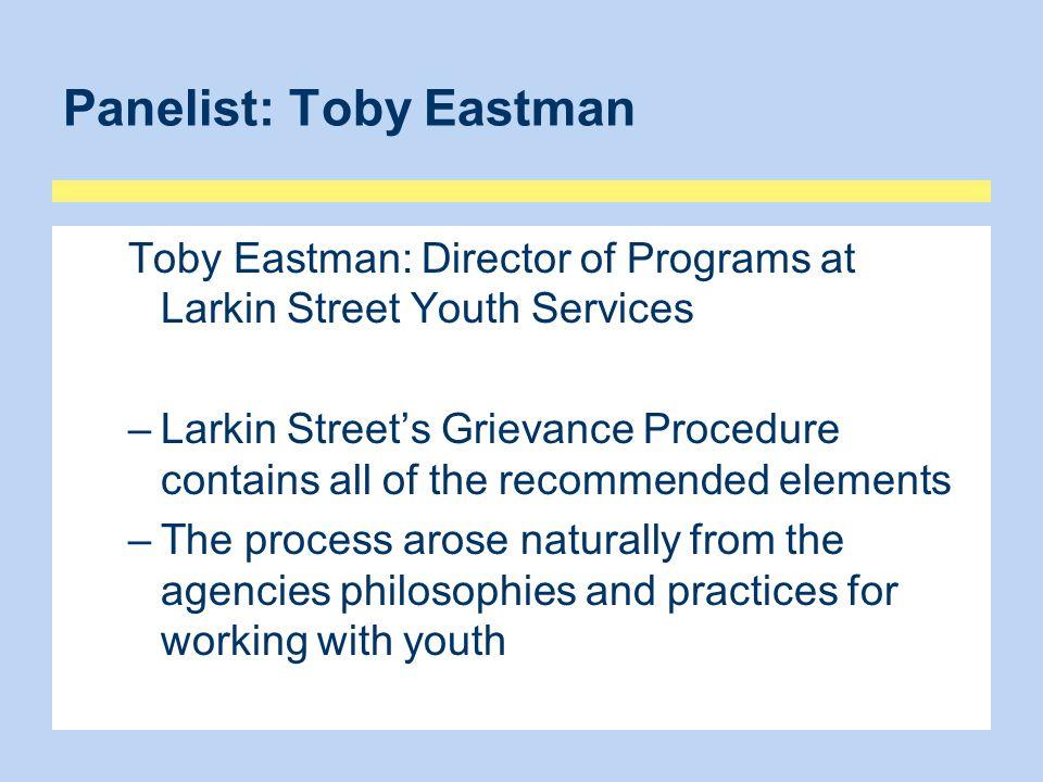 Panelist: Toby Eastman
