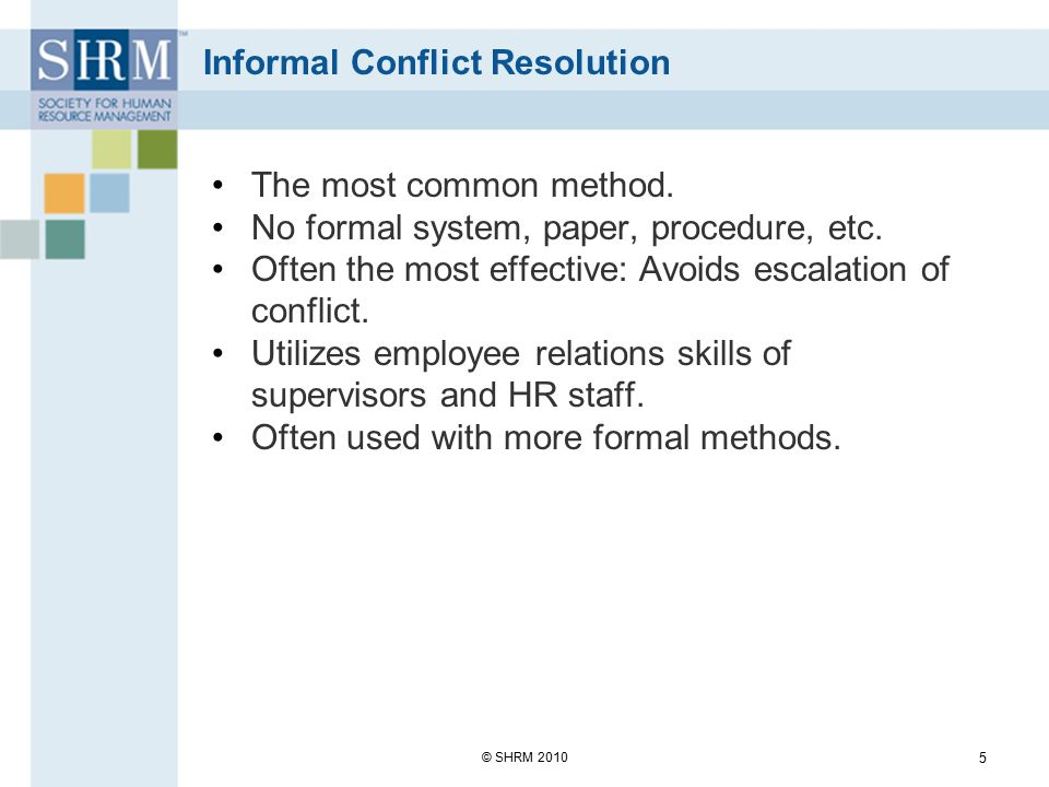 Informal Conflict Resolution