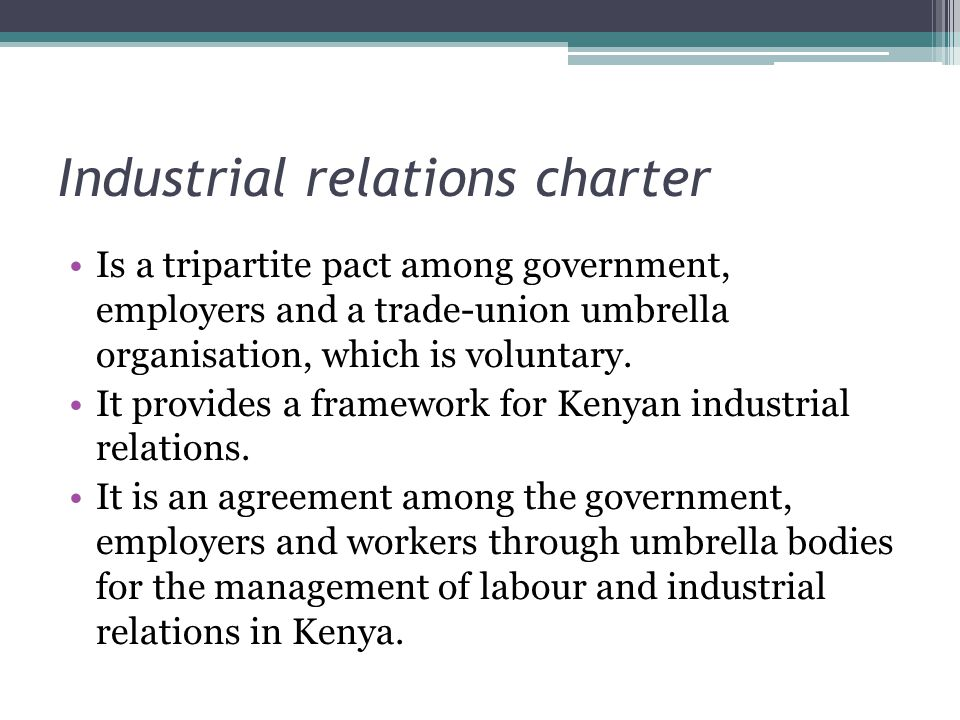 Industrial relations charter