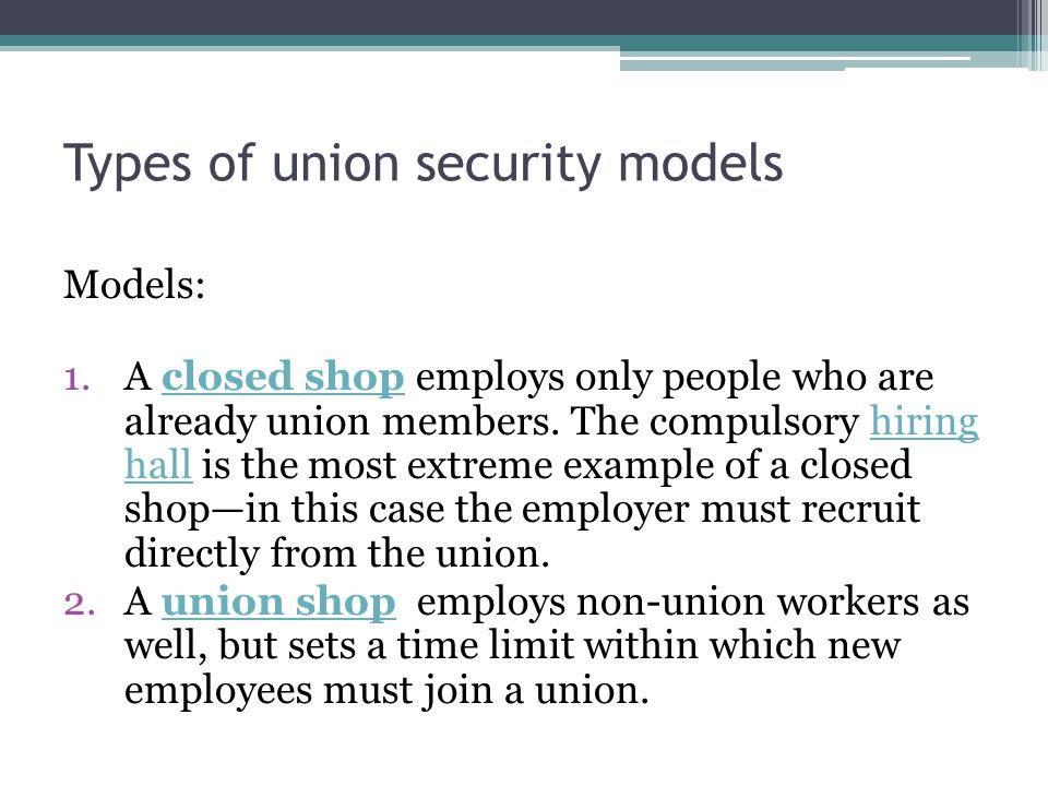 Types of union security models