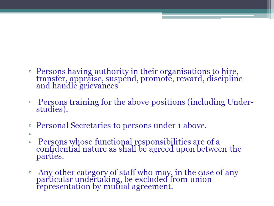 Persons having authority in their organisations to hire, transfer, appraise, suspend, promote, reward, discipline and handle grievances