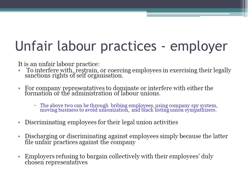 Unfair labour practices - employer