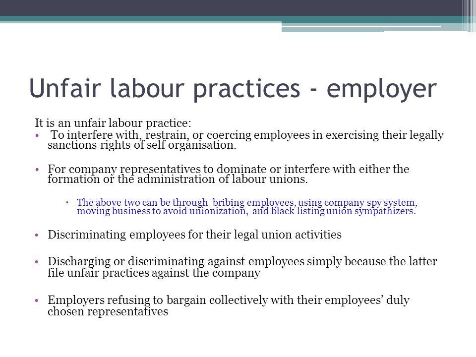 Unfair labour practices - employer