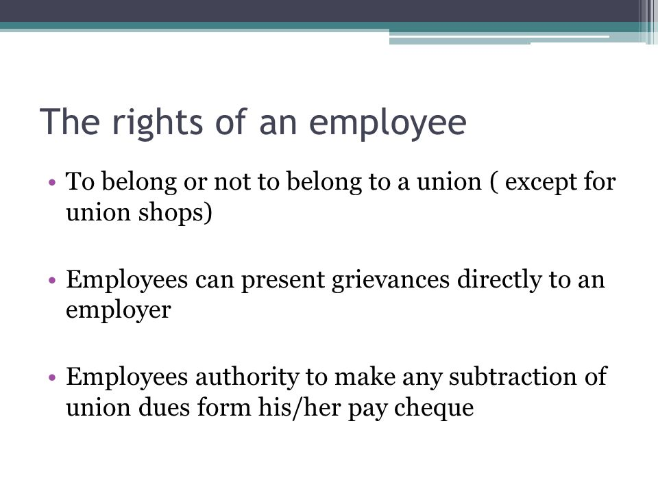 The rights of an employee